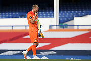 Bournemouth goalkeeper Aaron Ramsdale (12) leaves the field in tears after the final whistle as Bournemouth are relegated  during the Premier League match between Everton and Bournemouth at Goodison Park, Liverpool, England on 26 July 2020.