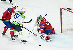 Jan Mursak of Slovenia between Anders Bastiansen of Norway and Lars Haugen of Norway during the 2017 IIHF Men's World Championship group B Ice hockey match between National Teams of Slovenia and Norway, on May 9, 2017 in Accorhotels Arena in Paris, France. Photo by Vid Ponikvar / Sportida