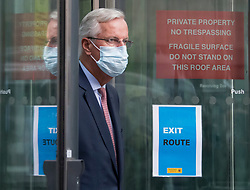 © Licensed to London News Pictures. 10/09/2020. London, UK. Chief EU negotiator MICHEL BARNIER is seen leaving the Department for Business following a round of negotiations between the UK Government and the EU. British Prime Minister Boris Johnson has threatened to overwrite parts of the EU withdrawal agreement signed with Brussels last October. Photo credit: Ben Cawthra/LNP