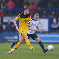 TELFORD COPYRIGHT MIKE SHERIDAN 19/1/2019 - Darryl Knights of AFC Telford closes down during the Vanarama Conference North fixture between AFC Telford United and Kidderminster Harriers
