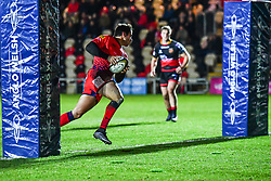 Dean Hammond of Worcester Warriors scores his sides second try - Mandatory by-line: Craig Thomas/JMP - 02/02/2018 - RUGBY - Rodney Parade - Newport, Gwent, Wales - Dragons v Worcester Warriors - Anglo Welsh Cup
