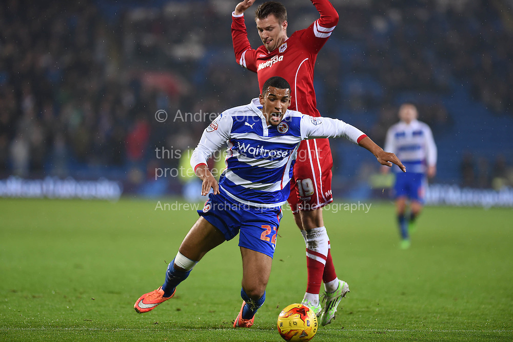 Nick Blackman of Reading 'dives' .Skybet football league championship match, Cardiff city v Reading at the Cardiff city stadium in Cardiff, South Wales on Friday 21st November 2014<br /> pic by Andrew Orchard, Andrew Orchard sports photography.