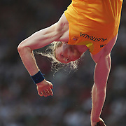 Steve Hooker, Australia, in action during the Men's Pole Vault Final at the Olympic Stadium, Olympic Park, Stratford during the London 2012 Olympic games. London, UK. 10th August 2012. Photo Tim Clayton