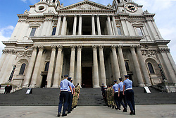 © Licensed to London News Pictures 16/04/2013.A military dress rehearsal takes place outside St Paul's cathedral in central London, the day before the late Margaret Thatcher's funeral..London, UK.Photo credit: Anna Branthwaite/LNP