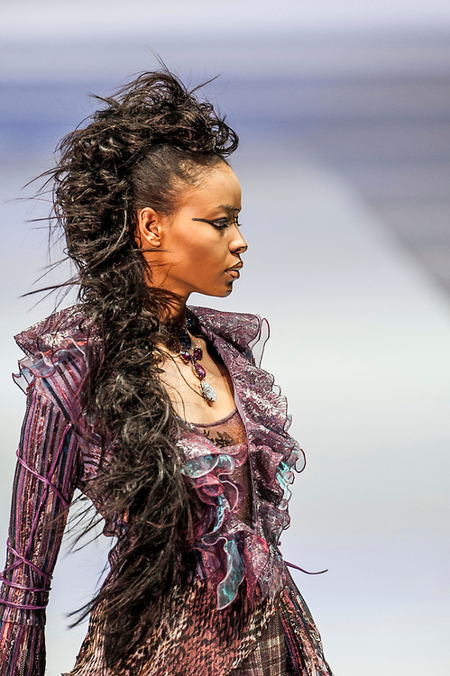 A model presents a creation by Indonesia-born designer Ika during the first day of the Hong Kong Fashion Week Fall/Winter 2009 on January 12, 2008 in Hong Kong. Photo by Victor Fraile / studioEAST