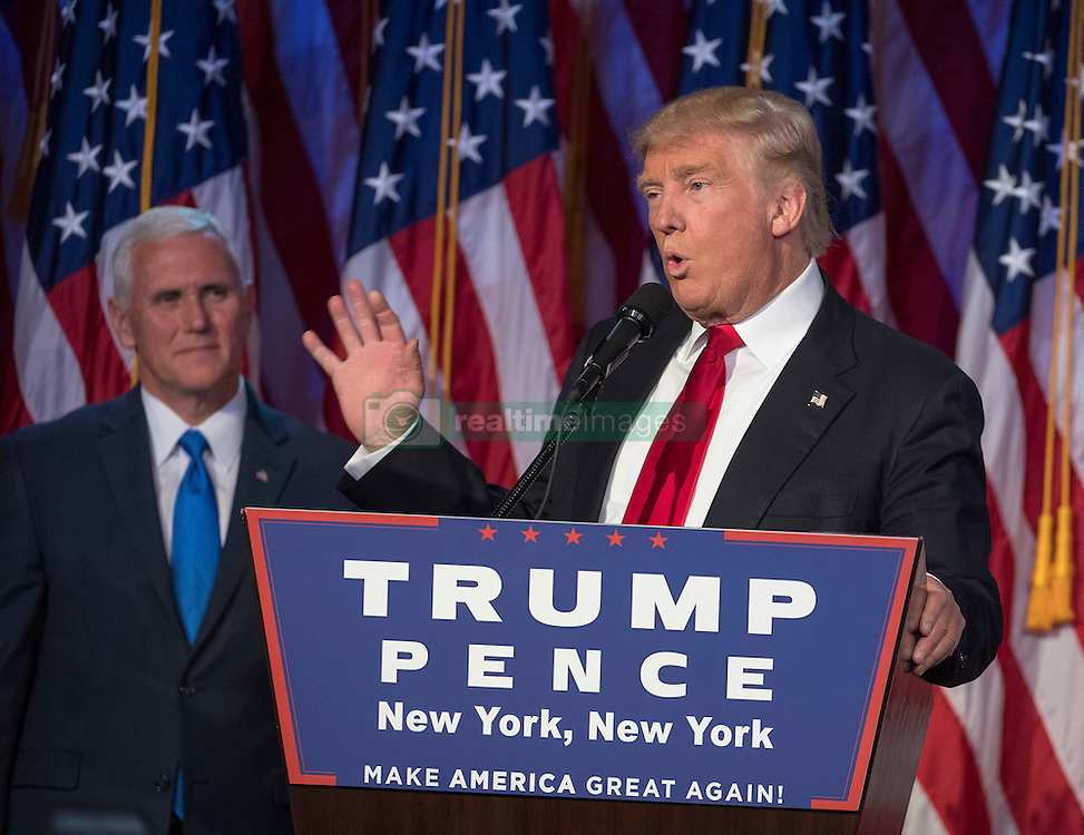 Nov 9, 2016 - New York, New York, U.S. - President-elect DONALD TRUMP, joined on stage by running mate MIKE PENCE, speaks to supporters at the Election Night Party at the Hilton Midtown Hotel. (Credit Image: © J. Conrad Williams Jr./Newsday/TNS via ZUMA Wire)