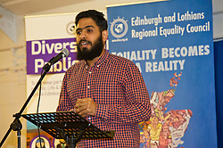 Pictured: Egyptian refugee journalist Abdul Hassan gave an empassioned plea for help for fellow refugees who want to contribute to Scotland<br /> <br /> SNP Brexit minister Mike Russell spoke at an Edinburgh and Lothians Regional Equality Council event which aimed to facilitate discussion between service providers in the public and third sectors, and asylum seekers and refugees in order to hear about the circumstances and needs.<br /> <br /> Ger Harley   EEm 6 December 2016
