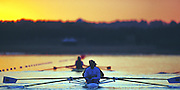 Sydney. AUSTRALIA. 2000 Summer Olympic Regatta, Penrith. NSW.  <br /> <br /> GBR M4-, waiting to move away from the boating area. Sunrise at the  Sydney International Regatta Centre (SIRC), as crews boat to start there training sessions.<br /> <br /> [Mandatory Credit Peter SPURRIER/ Intersport Images] 2000 Olympic Rowing Regatta00085138.tif
