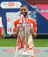 Blackpool's Kevin Stewart with the trophy<br /> <br /> Photographer Rob Newell/CameraSport<br /> <br /> The EFL Sky Bet League One Play-Off Final - Blackpool v Lincoln City - Sunday 30th May 2021 - Wembley Stadium - London<br /> <br /> World Copyright © 2021 CameraSport. All rights reserved. 43 Linden Ave. Countesthorpe. Leicester. England. LE8 5PG - Tel: +44 (0) 116 277 4147 - admin@camerasport.com - www.camerasport.com