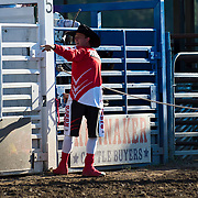 Kaehl Berg working both sides and ends of the arena at the Darby MT Elite Proffesionals Bull Riding Event July 7th 2017.  Photo by Josh Homer/Burning Ember Photography.  Photo credit must be given on all uses.