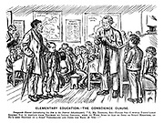 """Elementary Education. - The Conscience Clause. Temperate Parent (introducing his son to the district schoolmaster). """"O, Mr Tomkins, sir - please sir - I would partic'larly request you to abstain from teaching my little Jonadab, here, to work sums in ale or beer or spirit measures, as he's brought up a stric' teetotaller and jined the band of 'ope!!"""""""