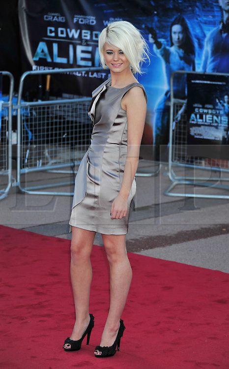 © Licensed to London News Pictures. 11/08/2011. London, England. Danielle Harold attends the U.K premiere of Cowboys and Aliens Starring Harrison Ford and Daniel Craig at the O2 Cineworld London Photo credit : ALAN ROXBOROUGH/LNP