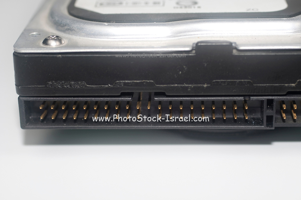 Computer hard disk close up of the parallel connector