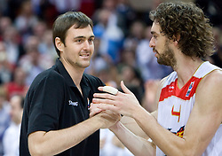 Erazem Lorbek (15) of Slovenia and Pau Gasol of Spain in best 5 players of  the EuroBasket 2009. Spain won at the Final match between Spain and Serbia, on September 20, 2009, in Arena Spodek, Katowice, Poland.  Spain won, Serbia placed second, Greece third and Slovenia fourth.  (Photo by Vid Ponikvar / Sportida)