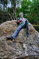 République d'Irlande, Dublin, Irlande, Dublin, Merrion Square, mémorial en hommage à l'auteur irlandaisOscar Wilde  // Republic of Ireland; Dublin, Oscar wilde monument in the Merrion Square