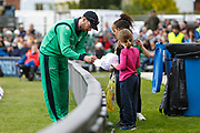 Stuart Thompson of Ireland signs autographs during the One Day International match between England and Ireland at the Brightside County Ground, Bristol, United Kingdom on 5 May 2017. Photo by Andrew Lewis.