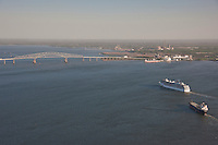 Aerial Photo of Carnival Cruise Lines Pride passenger ship sailing on innaugural sail into the Port of Baltimore Mayland Cruise Terminal near Key Bridge