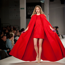 © Licensed to London News Pictures. 05/06/2016. London, UK. A model presents a look by Fola Adefowope, from the University of East London. Graduate Fashion Week opens at the Old Truman Brewery in East London showcasing the work of over 1,000 of the very best graduates from over 40 universities around the world.  30,000 guests are expected to attend the annual event which features 22 catwalk shows and more. Photo credit : Stephen Chung/LNP
