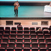021914       Cable Hoover<br /> <br /> Scott Atole of the New Mexico Health Insurance Exchange speaks to a modest crowd during a presentation at El Morro Theater in Gallup Thursday.