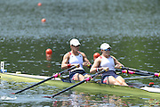 Lucerne. Switzerland. USA  W2X. Bow. Meghan O'LEARY and Ellen TOMEK, move away from the start pontoon in their heat of the women's double Sculls, 2013 FISA WC. III. 13:42:04  Friday  12/07/2013  [Mandatory Credit, Peter Spurrier/ Intersport Images] Lake Rotsee,