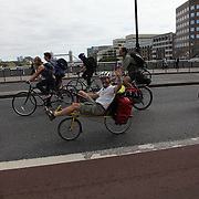 The swoop teams Brown and White crosses London Bridge, heading for the City.