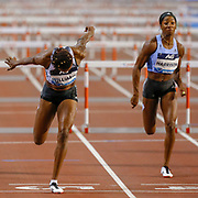 Danielle Williams (Jamaica) beating Kendra Harrison (USA) in the Women's 100m Hurdles during the IAAF Diamond League event at the King Baudouin Stadium, Brussels, Belgium on 6 September 2019.