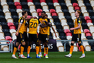 Newport County's Saikou Janneh (20) celebrates scoring his side's first goal during the EFL Sky Bet League 2 match between Newport County and Tranmere Rovers at Rodney Parade, Newport, Wales on 17 October 2020.