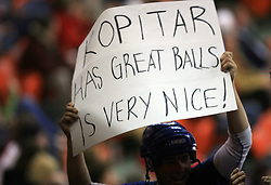 "Fan with poster  ""Kopitar (Anze) has great balls"" at ice-hockey match USA vs Slovenia at Preliminary Round (group B) of IIHF WC 2008 in Halifax, on May 04, 2008 in Metro Center, Halifax, Nova Scotia, Canada. (Photo by Vid Ponikvar / Sportal Images)"