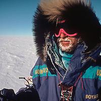 Veteran Russian polar explorer, Victor Boyarsky, leads the 1989-1990 Trans-Antarctica Expedition across the vast polar plateau.