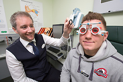 Director Adam Gordon with Duncan Weir. Edinburgh rugby players Ross Ford, Duncan Weir and Simon Berghan officially opened the new Specsavers store at 70 St John Road, Corstorphine, Edinburgh.