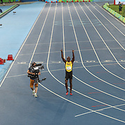 Athletics - Olympics: Day 13  Usain Bolt of Jamaica celebrates his win in the Men's 200m Final at the Olympic Stadium on August 18, 2016 in Rio de Janeiro, Brazil. (Photo by Tim Clayton/Corbis via Getty Images)