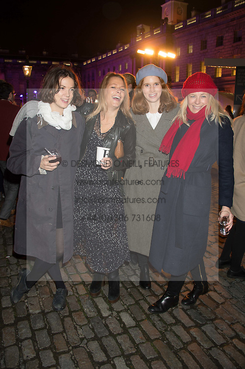 Left to right, LADY ALICE ST.CLAIR ERSKINE, DAVINA HARBORD, LARA HUGHES-YOUNG and ASTRID HARBORD at the launch of Skate at Somerset House in association with Fortnum & Mason held at Somerset House, The Strand, London on 17th November 2015.