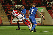 Tyrone Barnett scores and celebrates the opening goal in the 2nd half during the The FA Cup 1st round replay match between Cheltenham Town and Ebbsfleet at LCI Rail Stadium, Cheltenham, England on 20 November 2018.