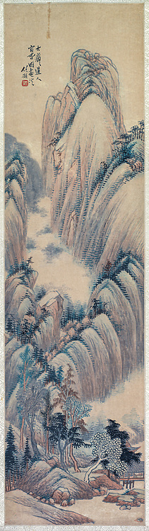 Landscapes 1892 (Part of a set). by Ren Yu  (Chinese, 1853-1901) China, Qing dynasty (1644-1911) Hanging scroll, color on paper Overall: 149.8 x 40.7 cm (59 x 16 in.)
