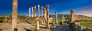 The Corintian columns of Capitoline Temple dedicated to the three chief divinities of the Roman state, Jupiter, Juno and Minerva.  Volubilis Archaeological Site, near Meknes, Morocco .<br /> <br /> Visit our MOROCCO HISTORIC PLAXES PHOTO COLLECTIONS for more   photos  to download or buy as prints https://funkystock.photoshelter.com/gallery-collection/Morocco-Pictures-Photos-and-Images/C0000ds6t1_cvhPo<br /> .<br /> <br /> Visit our ROMAN ART & HISTORIC SITES PHOTO COLLECTIONS for more photos to download or buy as wall art prints https://funkystock.photoshelter.com/gallery-collection/The-Romans-Art-Artefacts-Antiquities-Historic-Sites-Pictures-Images/C0000r2uLJJo9_s0