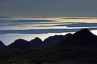 evening view over The Adriatic Sea, Paklenica National Park, Velebit Nature Park, Rewilding Europe rewilding area, Velebit  mountains, Croatia