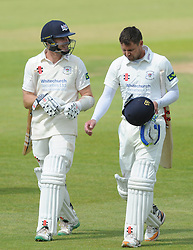 Michael Klinger of Gloucestershire and Geraint Jones of Gloucestershire - Photo mandatory by-line: Dougie Allward/JMP - Mobile: 07966 386802 - 08/06/2015 - SPORT - Football - Bristol - County Ground - Gloucestershire Cricket v Lancashire Cricket Day 2 - LV= County Championship