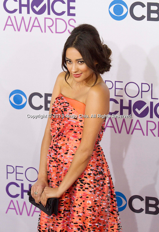 Shay Mitchell arrives at the 39th Annual People's Choice Awards at Nokia Theatre L.A. Live on Wednesday January 9, 2013 in Los Angeles, California, United States. (Photo by Ringo Chiu/PHOTOFORMULA.com)