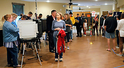 A steady steam of people vote at the St Mary's Orthodox Church in Roswell. Photo by Bob Andres/Atlanta Journal-Constitution/TNS/ABACAPRESS.COM