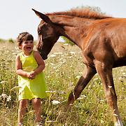 Little girl and a little horse