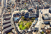 Nederland, Groningen, Groningen, 01-05-2013;<br /> Groningen-stad, centrum. Martinikerkhof, Grote Markt (re), Martinitoren. Vindicat atque Polit links op de Grote MArkt.<br /> Center of the city of Groningen, old town. Martinitoren (church) and former churchyard.<br /> luchtfoto (toeslag op standard tarieven)<br /> aerial photo (additional fee required)<br /> copyright foto/photo Siebe Swart