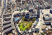 Nederland, Groningen, Groningen, 01-05-2013;<br /> Groningen-stad, centrum. Martinikerkhof, Grote Markt (re), Martinitoren. Vindicat atque Polit links op de Grote MArkt.<br /> Center of the city of Groningen, old town. Martinitoren (church) and former churchyard.<br /> luchtfoto (toeslag op standard tarieven)<br /> aerial photo (additional fee required)<br /> copyright foto/photo Siebe Swart