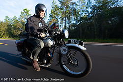Paul Warrenfelt riding his 1935 Triumph 250cc Single during the Cross Country Chase motorcycle endurance run from Sault Sainte Marie, MI to Key West, FL. (for vintage bikes from 1930-1948). 287 mile ride of Stage-8 from Tallahassee to Lakeland, FL USA. Friday, September 13, 2019. Photography ©2019 Michael Lichter.