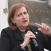 Speaker Emma Dent Coad MP of Labour demand justice for the Grenfell victims and survival and safer housing ahead Parliamentary Debate Rally on 14th May 2018 at Parliament Square, London, UK.