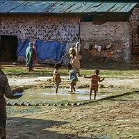 at Mirpur Destitute Camp, set up at an abndoned soap factory after a cyclone & bloody war of independence left millions of peole homless.  1977 image.