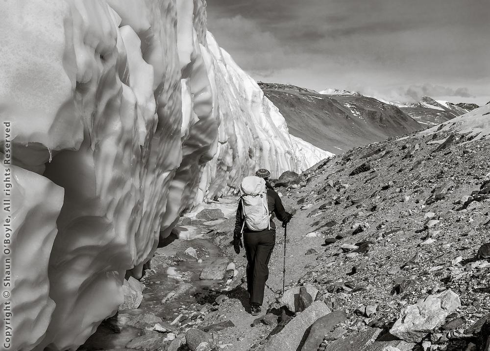 Renee trekking along side the Canada Glacier