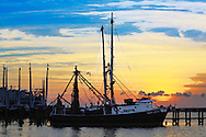 Shrimpboats photograph in watercolor at sunset