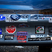 Thousands of stickers adorn a guardrail near Mono Lake and the town of Lee Vining, California.