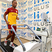 Turkish soccer club Galatasaray new player Didier Drogbar seen during their medical control at the Liv Hospital in Istanbul Turkey on Tuesday 22 January 2013. Drogba will be paid 10 million euros ($13.5 million) for the 18-month period he is set to spend in Istanbul. He will also receive a bonus of 15,000 euros ($20,000) for each match played. Photo by TURKPIX