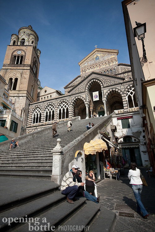 The Romanesque facade of the Amalfi Cathedral (duomo) in Amalfi, Campagna, Italy